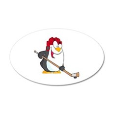 funny penguin playing ice hockey cartoon Wall Decal