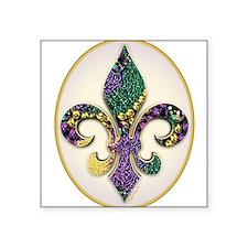 Fleur de lis Mardi Gras Beads Oval Sticker