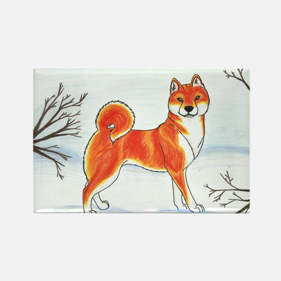 Shiba In The Snow Rectangle Magnet
