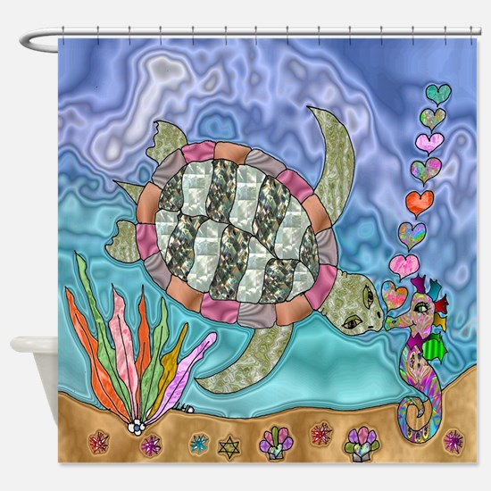 Sea Turtle Seahorse Art Shower Curtain