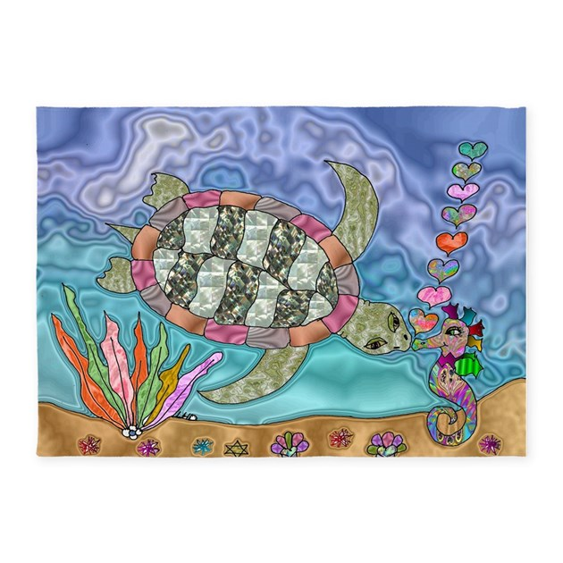 Sea Turtle Sea Horse Art 5'x7'Area Rug By LeeHillerDesigns