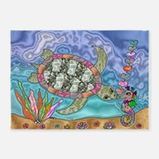Sea Turtle Sea Horse Art 5'x7'Area Rug