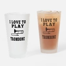 I Love Trombone Drinking Glass