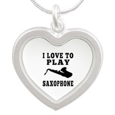 I Love Saxophone Silver Heart Necklace
