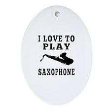 I Love Saxophone Ornament (Oval)
