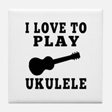 I Love Ukulele Tile Coaster