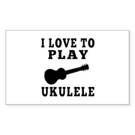 I Love Ukulele Sticker (Rectangle)
