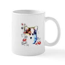 Pembroke Welsh Corgi Puppy with Floral Design Mug