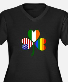 Gay Pride Shamrock Women's Plus Size V-Neck Dark T