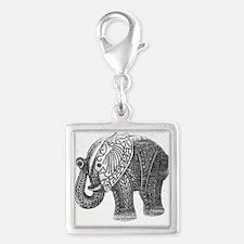 Jeweled Wedding Elephant Silver Square Charm