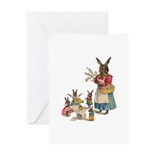 Vintage Easter Bunny with Spring Flowers Greeting