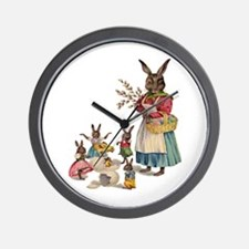 Vintage Easter Bunny with Spring Flowers Wall Cloc