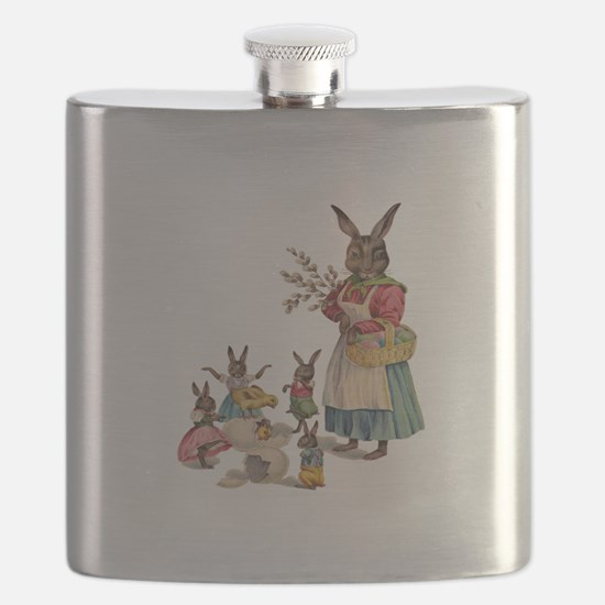 Vintage Easter Bunny with Spring Flowers Flask
