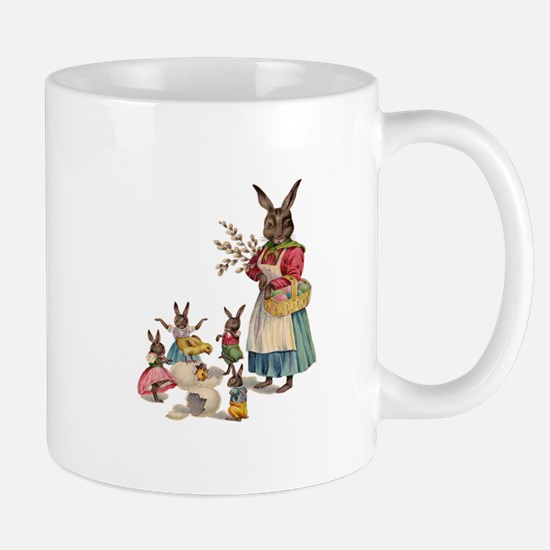 Vintage Easter Bunny with Spring Flowers Mug