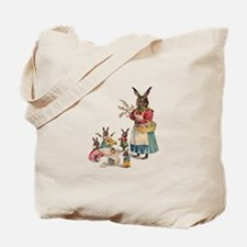 Vintage Easter Bunny with Spring Flowers Tote Bag