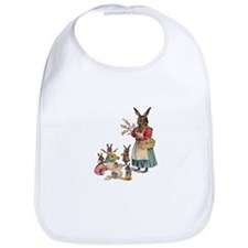 Vintage Easter Bunny with Spring Flowers Bib