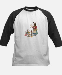 Vintage Easter Bunny with Spring Flowers Baseball