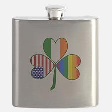 Gay Pride Shamrock Flask