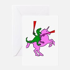 Dinosaur Riding Invisible Pink Unicorn Greeting Ca