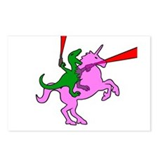 Dinosaur Riding Invisible Pink Unicorn Postcards (