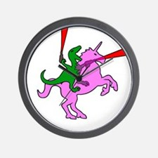 Dinosaur Riding Invisible Pink Unicorn Wall Clock