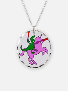 Dinosaur Riding Invisible Pink Unicorn Necklace