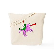 Dinosaur Riding Invisible Pink Unicorn Tote Bag