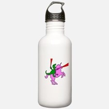 Dinosaur Riding Invisible Pink Unicorn Water Bottl