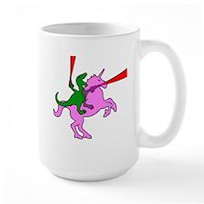 Dinosaur Riding Invisible Pink Unicorn Mug