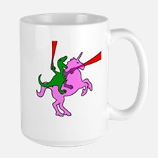 Dinosaur Riding Invisible Pink Unicorn Mug