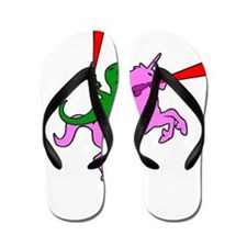 Dinosaur Riding Invisible Pink Unicorn Flip Flops