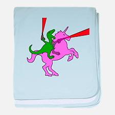Dinosaur Riding Invisible Pink Unicorn baby blanke
