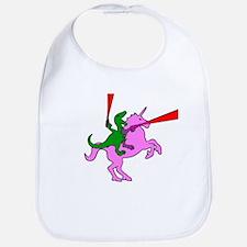 Dinosaur Riding Invisible Pink Unicorn Bib