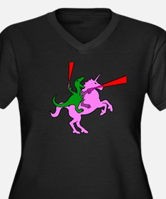 Dinosaur Riding Invisible Pink Unicorn Plus Size T