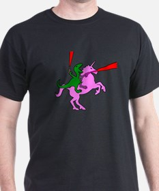 Dinosaur Riding Invisible Pink Unicorn T-Shirt