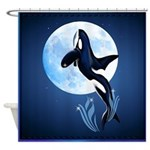 Leaping Orca and Moon Shower Curtain