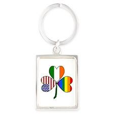 Gay Pride Shamrock Portrait Keychain