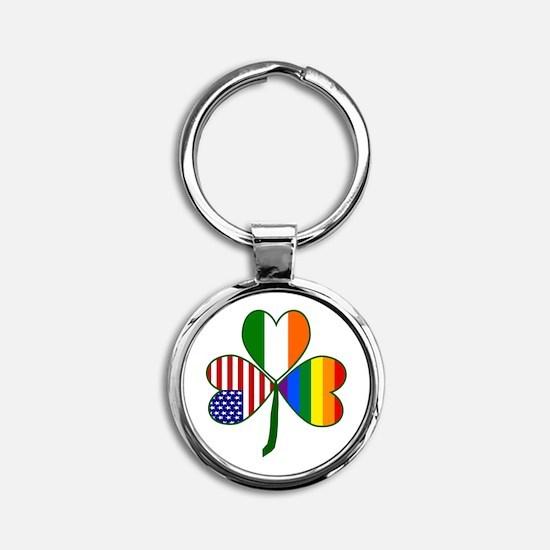 Gay Pride Shamrock Round Keychain