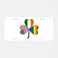 Gay Pride Shamrock Aluminum License Plate