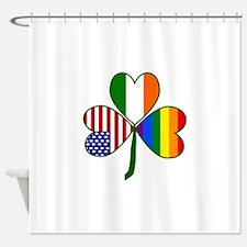 Gay Pride Shamrock Shower Curtain