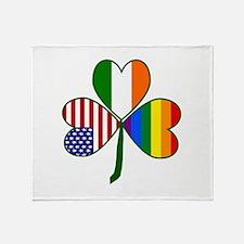 Gay Pride Shamrock Throw Blanket