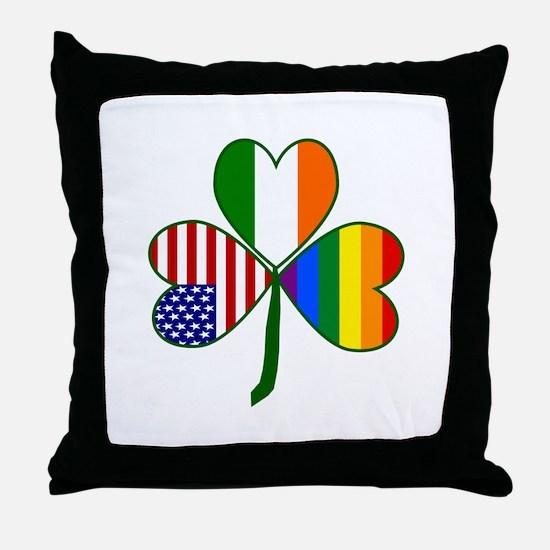 Gay Pride Shamrock Throw Pillow