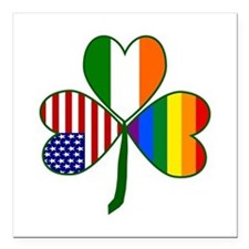 "Gay Pride Shamrock Square Car Magnet 3"" x 3"""