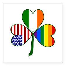 "Gay Pride Shamrock Square Car Magnet 3"" x 3"""