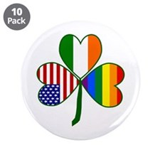 "Gay Pride Shamrock 3.5"" Button (10 pack)"