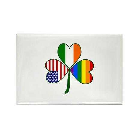 Gay Pride Shamrock Rectangle Magnet (100 pack)