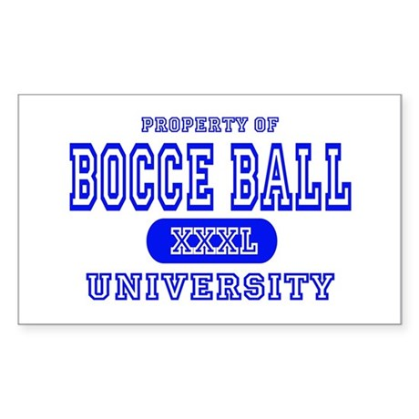 Bocce Ball University Rectangle Sticker