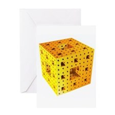 Yellow Menger Sponge Fractal Greeting Card