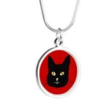 Black Cat Face Silver Round Necklace