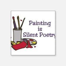 """Silent Poetry Square Sticker 3"""" x 3"""""""
